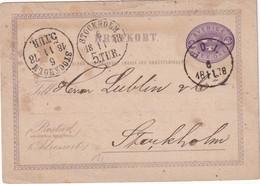 SUEDE 1878 ENTIER POSTAL/GANZSACHE/POSTAL STATIONERY CARTE AVEC CACHET FERROVIAIRE/ZUGSTEMPEL - Ganzsachen
