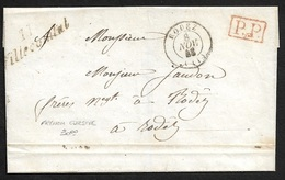 1848 - LSC - Cursive 11 VILLECOMTAL ( AVEYRON ) , C.à.d RODEZ - P.P Port Payé Encadré - Postmark Collection (Covers)