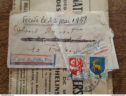 1969 Bande De Journal? Sur Journal - Retour à L'envoyeur Car Décédé (Colonel Dumont, Troyes) TP Blason Auch Et Guéret - Marcophilie (Lettres)