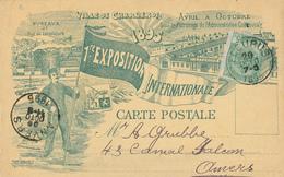 907/28 - BELGIQUE - Carte Illustrée EXPO Internationale CHARLEROI 1895 - TP Armoiries FLEURUS 1895 - Caoutchouc Decnop - Wereldtentoonstellingen