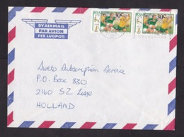South Africa: Airmail Cover To Netherlands, 1991, 2 Stamps, Rugby Match Australia, Sports (traces Of Use) - Zuid-Afrika (1961-...)
