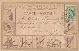 909/28 - BELGIQUE - Carte Illustrée Sténographie DUPLOYE - Thèmes Eléphant , Ballon , Moulin , Lyre (Musique) , Balance - Timbres