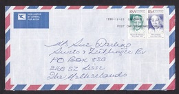 South Africa: Air Cover To Netherlands 1996, 2 Stamps, Mandela, De Klerk, Nobel Peace Prize (minor Discolouring At Back) - Zuid-Afrika (1961-...)