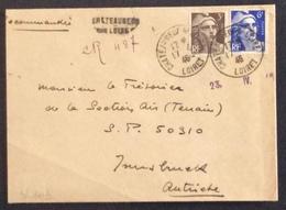 V103 Loiret Recommandé Vers Autriche LINÉAIRE Chateauneuf Sur Loire Marianne Gandon 715 + 720 17/4/1946 - 1921-1960: Modern Period