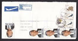 South Africa: Registered Cover To Netherlands 1994, 8 Stamps, Mandela, Bird, Plant, R-label Kroonheuwel (minor Damage) - Zuid-Afrika (1961-...)