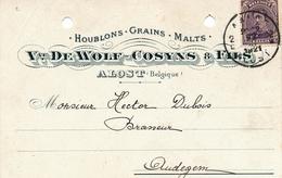 911/28 - Belgique BRASSERIE - Carte Privée TP Petit Albert AALST 1921 - Entete Houblons-Malts Vve De Wolf-Cosyns à ALOST - Bières