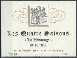 Etiquette De Vin De France * Les Quatre Saisons - La Vendange * - Etiquettes