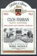 Etiquette De Vin De France * Saint-Estephe - Clos Ferran * - Etiquettes