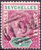 SEYCHELLES 1890 QV 4 Cents Carmine & Green SG2 Used - Seychelles (...-1976)