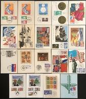 France Cartes Maximum - Lot De 19 Cartes Maximum - Thématique Vœux Anniversaires Centenaire - Cartas Máxima