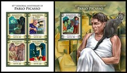 MALDIVES 2018 - Pablo Picasso - Mi 7678-81 + B1201 - Zonder Classificatie