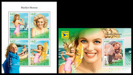 CENTRAL AFRICA 2018 - Marilyn Monroe (Small). M/S + S/S Official Issue - Acteurs