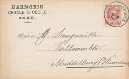 913/28 - BELGIQUE MUSIQUE -Carte Privée TP Houyoux BRUGES - Entete Harmonie Cercle Ste Cécile BRUGGE à MIDDELBURG - Musique