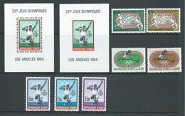 Haiti 1984 Los Angeles Olympic Games Set Of 7 &  Miniature Sheets X 2 Perf. & Imperf. MNH , Perf Sheet Disturbed Gum - Haiti