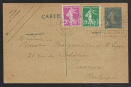 Entier Type Semeuse Avec Complément D'affranchissement-Lille Nord Pour La Belgique-1926 - Marcophilie (Lettres)