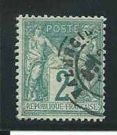 FRANCE: Obl., N° YT 62, T. I, Vert, TB - 1876-1878 Sage (Typ I)