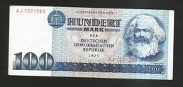 DEUTSCHLAND - Staatsbank Der DDR - 100 MARK (1975) K. MARX - [ 6] 1949-1990 : RDA - Rep. Dem. Tedesca