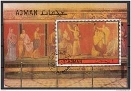 Ajman 1972 Bf. 490A Pompei Villa Misteri Culto DIONISO Scene III E V Catechesi - La Sposa Perf. CTO - Ajman