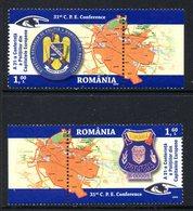 Roumanie Romania 5359/60 Police , Armoiries , Carte Géographique - Police - Gendarmerie