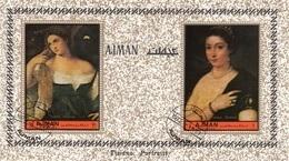 """Ajman 1972 Mi. 465A """"Ritratto Di Donna E Fanciulla"""" Quadro Dipinto Tiziano Vecellio Titian  Paintings CTO Perf. - Ajman"""