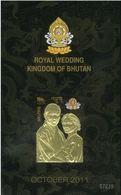 Bhutan S/S 2011 Royal Wedding MNH - With 22 Carat Gold Affixed - Unusual - Bhutan