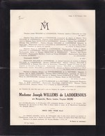 CHAUDFONTAINE SAINT-GILLES Marguerite BESME épouse WILLEMS De LADDERSOUS 1875-1943 Faire-part - Décès