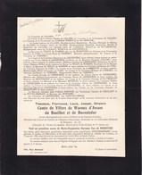 CONJOUX Théodore Comte De VILLERS De WAROUX D'AWANS Veuf Van De WOESTYNE 1846-1926 Hospice D'HARSCAMP Namur - Décès