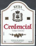 Etiquette De Vin D' Espagne  * Credencial * - Etiquettes