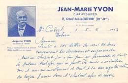 Lettre Année 1953 JEAN-MARIE YVON Chaussures 15 Grand'Rue MONTENDRE 17310 à Mr Calvet Notaire (Augustin YVON Cognac) - France