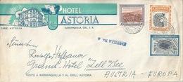 """Ausland Brief  """"Hotel Astoria, Barranquilla"""" - Zell Am See         1956 - Colombie"""