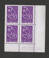 FRANCE 2004   Lamouche  N° YT 3732**  Coin Daté 25.11.2004  - Bloc De 4  / MNH   / Presse TD6 - 2000-2009