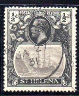 CI763 - ST. HELENA 1922 , 1/2d. Grigio E Nero N. 58 Usato FILIGRANA CAPOVOLTA INVERTED. Raro - Isola Di Sant'Elena