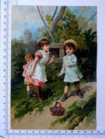 CHROMO LITHOGRAPHIE GRAND FORMAT.......ENFANTS  DANS UN JARDIN...PANIER DE FLEURS - Vieux Papiers