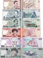 Kyrgyzstan 1997-2002 Set 6 Pcs 1+5+10+20+50+100 Som - Pick 13-21 UNC - Kirghizistan