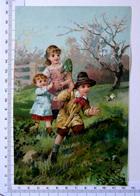 CHROMO LITHOGRAPHIE GRAND FORMAT.......ENFANTS  DANS UN JARDIN...CHASSE AUX PAPILLONS - Vieux Papiers