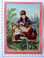 CHROMO LITHOGRAPHIE GRAND FORMAT.......ENFANTS  DANS UN JARDIN...REPOS SUR UN BANC - Vieux Papiers