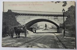 Belle CPA Limoges Commerçant Charette à Cheval Pont Du Chemin De Fer Avenue Ernest Ruben - Limoges