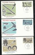 Polynésie 3  Lettres Illustrées  Premier Jour Papeete Le 14/10/1987les N° 288 à 290 Armes Et Objets Usuels Polynsiens TB - Militaria