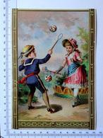 CHROMO LITHOGRAPHIE GRAND FORMAT.......ENFANTS ...JEU DE RAQUETTES - Vieux Papiers
