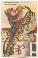 Fireman Pompier Feuerwehr, Humor PC, 1941. - Pompieri