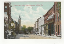 MILTON, Pennsylvania, USA, Front Street & Stores From Broadway, 1910 Reed Postcard - Etats-Unis