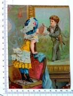 CHROMO LITHOGRAPHIE GRAND FORMAT......PETITE FILLE QUI SENT LE BOUQUET DE FLEURS D'UNE PEINTURE A L'HUILE - Vieux Papiers