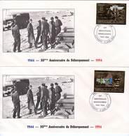 GUINEE - DE GAULLE - FDC - PA  N° 291/2  **  (1994) NON DENTELE / Surcharge 6 Juin 1944 - De Gaulle (General)