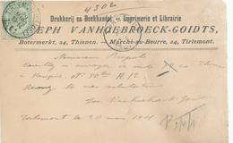 944/28 - Carte Privée TP Armoiries TIRLEMONT Station 1901 - Entete Imprimerie Et Librairie Vanhoebroeck-Goidts - 1893-1907 Armoiries