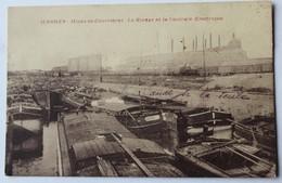 CPA 62 Harnes Mines De Courrières Centrale électrique Nombreuses Péniches - Harnes
