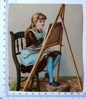 CHROMO LITHOGRAPHIE GRAND FORMAT......PETITE FILLE A SON CHEVALET ...PUB /A LA BELLE JARDINIÈRE - Vieux Papiers