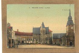 CPA - BOULOIRE (72) - Vue De La Place De L'Eglise Et De La Mairie Au Début Du Siècle - Carte Aspect Toilé - Bouloire