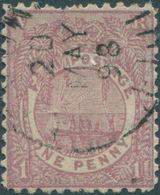 Fiji 1896 SG101a 1d Pale Rosy Mauve Native Canoe P11x11¾ FU - Fidji (1970-...)