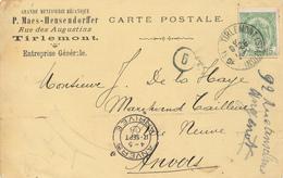 945/28 - Carte Privée TP Armoiries TIRLEMONT Station 1908 - Entete Grande Menuiserie Mécanique Maes-Hensendorffer - 1893-1907 Armoiries