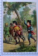 CHROMO LITHOGRAPHIE GRAND FORMAT.....ENFANTS QUI JOUENT AUX CHEVAUX....FOUET.....PUB / CHICORÉE CASIEZ ET BOURGEOIS - Vieux Papiers